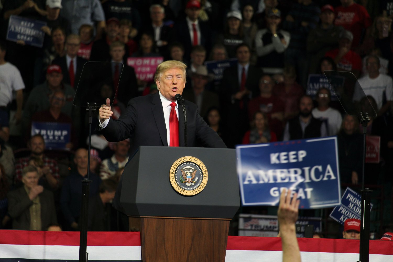 President Donald Trump gestures to the crowd as he discusses his current campaign plan for his 2020 presidential run. He spoke about his opponents as well as his current agenda to begin policies within the government such as the Space Force and immigration reform.