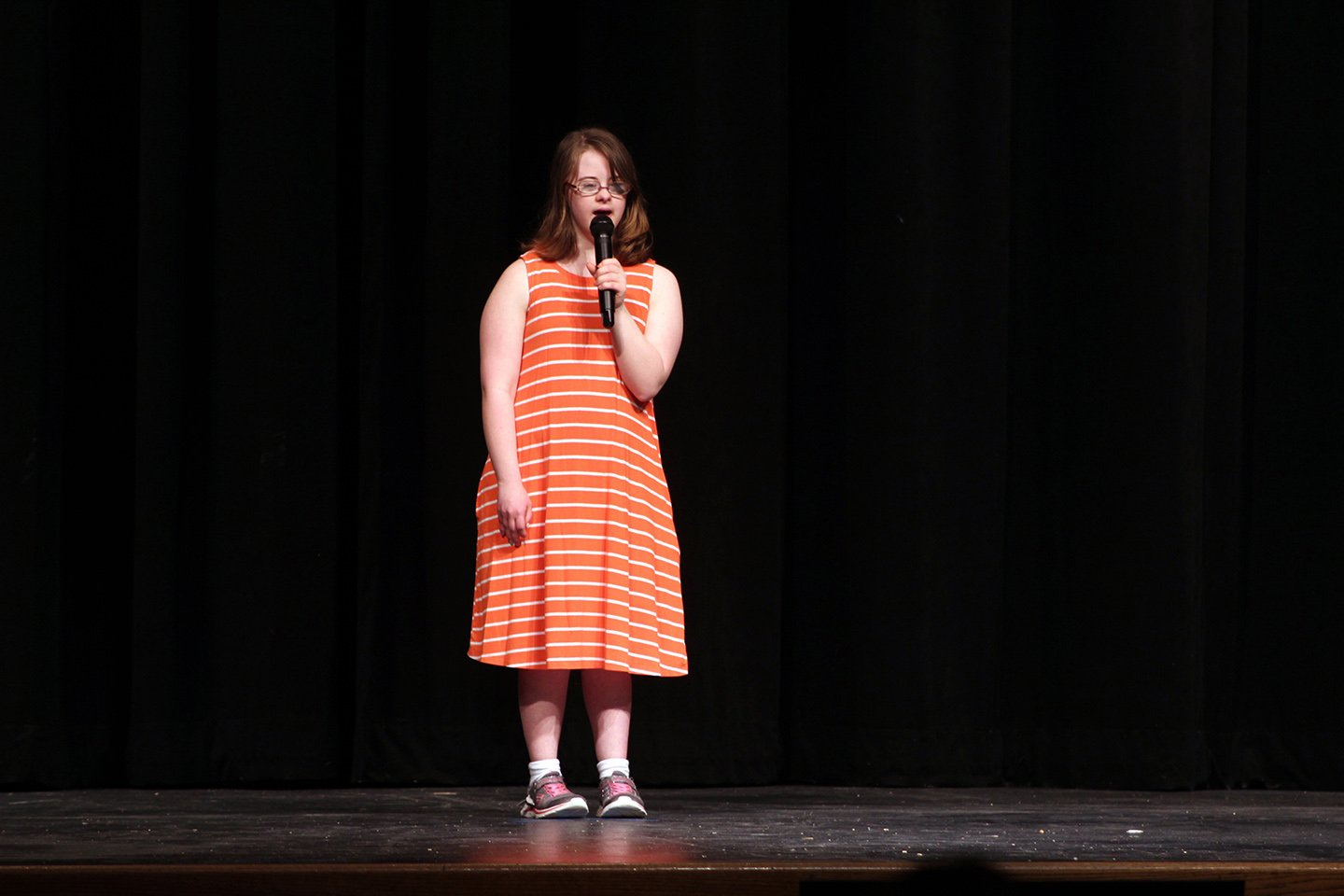 """IPS student Rachel Efken sings along to """"Mamma Mia"""" from the 2008 musical """"Mamma Mia,"""" who will aslo perform with Reagan Swisher."""