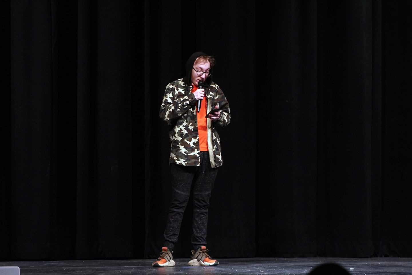Joseph Myers, an IPS student, practices his rap, which is featured in the first act of the show.