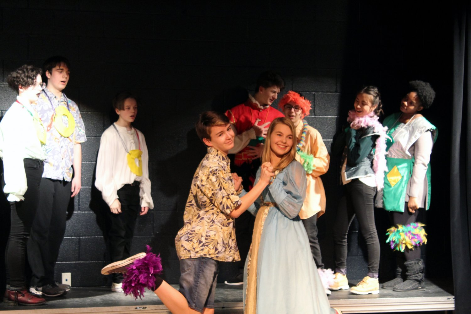 "GRADE Ronan Tanona and GRADE Carissa Brandt pose as Romeo and Juliet in the One-Act play ""The Seissification of Rome and Juliet"" at their Dec. 13 dress rehearsal. There were five one-acts featured at the event."