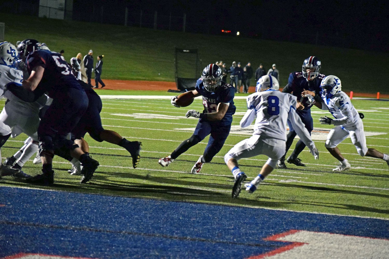 Senior BJ Young runs towards the endzone to score a touchdown for MHS. MHS and school rivals Junction City competed at Bishop Stadium on Oct. 11. The Indians won the game 31-28 after a very close match. Photo by Hailey Eilert