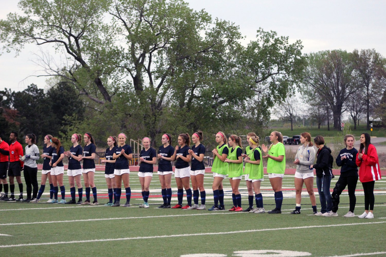 The girls soccer team gets announced before their game on Tuesday evening, April 23rd.