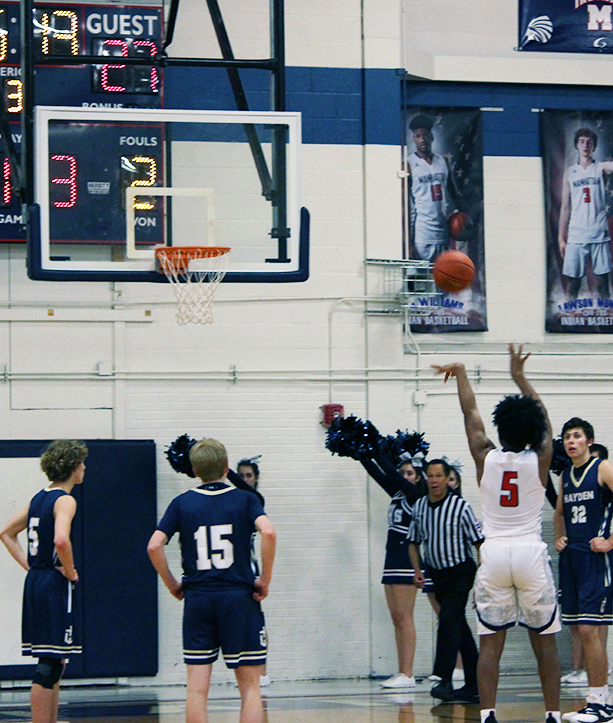 Junior Raeshon Riddick shoots a free throw during the varsity boys basketball game against Hayden. The indians lost 44-47 at home last Friday.