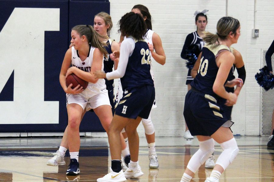 Junior+Alorea+Osterman+protects+that+ball+before+passing+it+to+a+teammate+during+the+MHS+varsity+girls+basketball+game+on+Dec.+14.+Photo+by+Jennifer+Sadler