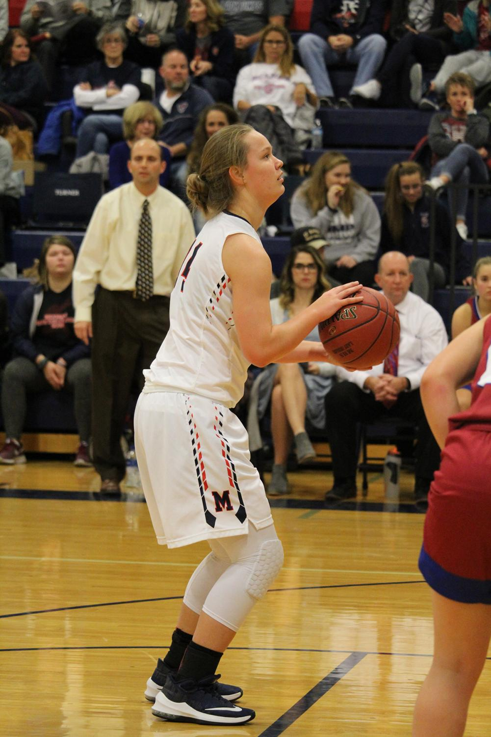 Sophomore Taylor Claussen prepares to shoot a freethrow during the basketball game on Friday 48-39. The home game against Seaman High School added the third win of the season.