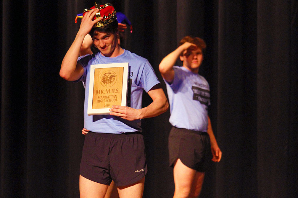 Senior Max Landsdowne takes one last nod towards the audience after winning the 2019 Mr. MHS competition. Landsdowne performed a dance routine on a pogo stick for his talent portion of the competition, other talented acts included senior Cale Goss's magic and the musical stylings of senior Parker Wilson on the piano.