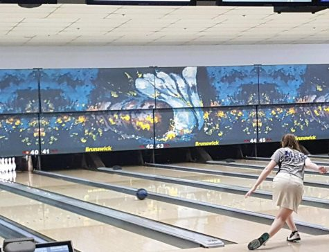 Sophomore Ashlyn Dechant finishes bowling a frame at State. Dechant finished in the top 30 individuals at State with a 493 series.
