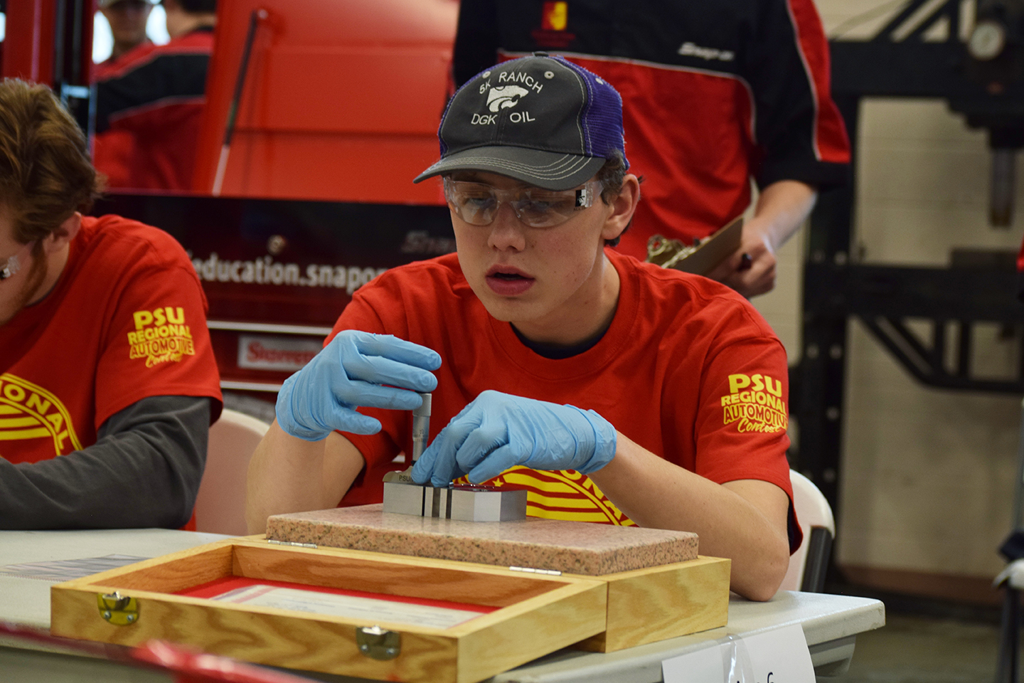 Junior Jacoby Kerr competes in the Skills USA regional automotive competition on Feb. 26. Kerr placed third in the eight stationed competition, with placing third Kerr won a tool box and a $500 scholarship to PSU.