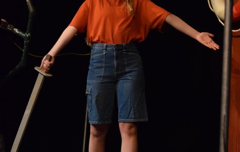 Senior Kate Washburn performs a monologue during the final reheasal of