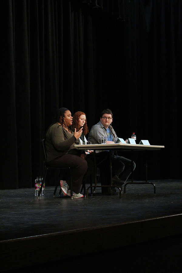 Family and Mental Health Therapist Jurdene Coleman answers a question during the mental health panel last Wednesday. The panel was sponsored by Key Club.