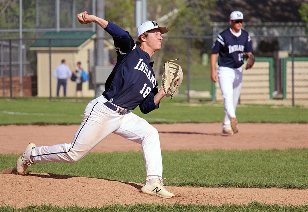 Senior Cayden Figge throws a pitch during the MHS varsity baseball game on Saturday. The MHS Indians played a doubleheader and won both games of the day, in their first match they beat Washburn Rural 9-7 and dominated the second game 5-3.