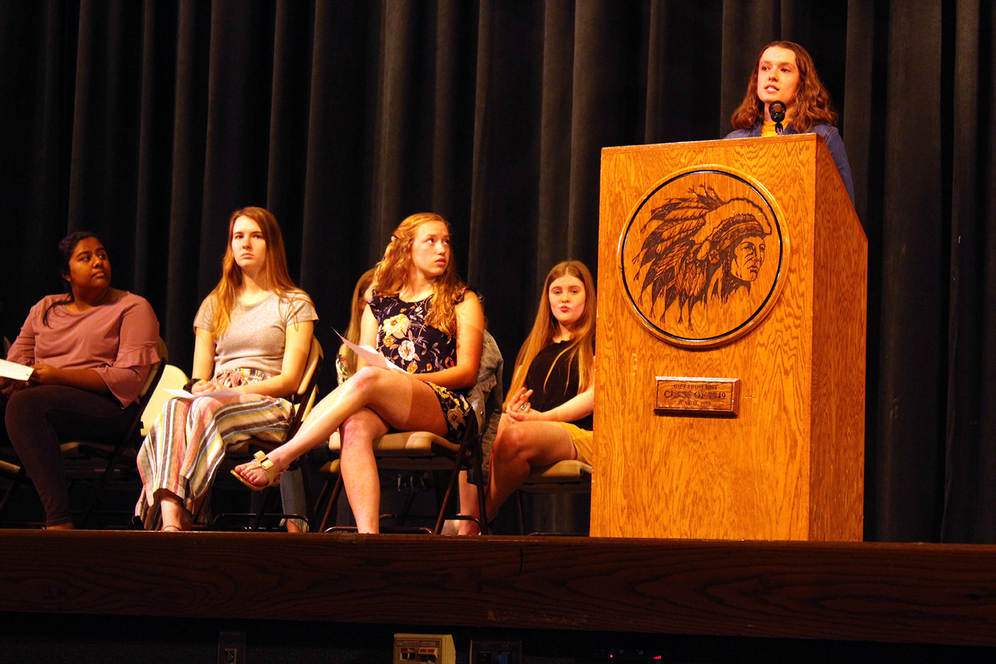 Juniors running for a position in StuCo.  Macy Hendricks looks to Elizabeth Chapman as she gives her speech.
