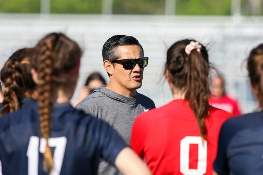 The+new+boys+soccer+head+coach%2C+Mike+Sanchez%2C+advises+the+girls+soccer+team+--+as+girls+soccer+head+coach+--+on+one+of+their+games+in+the+2019+girls+soccer+season.+