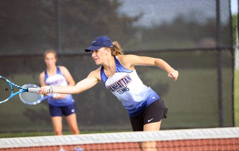 Girls tennis teams play together for Emporia Invitational
