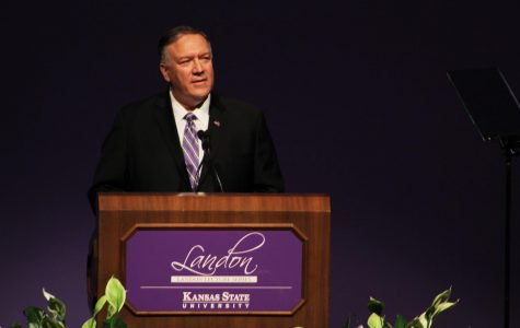 Mike Pompeo speaks to a group at Kansas State University on Saturday afternoon. Pompeo came to Kansas State to discuss the current political environment surrounding the upcoming election season.