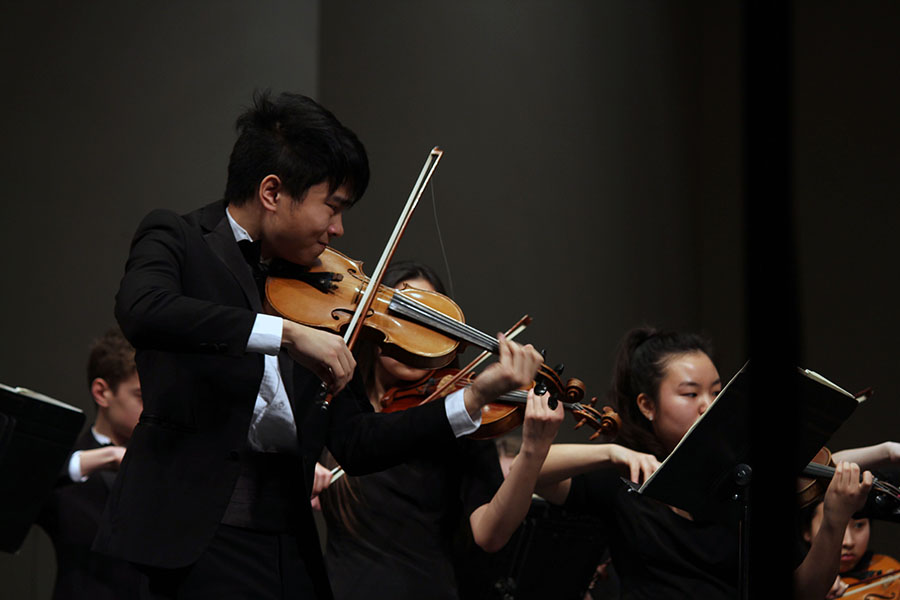 Senior Allen Zhang plays intensely to Shostakovich