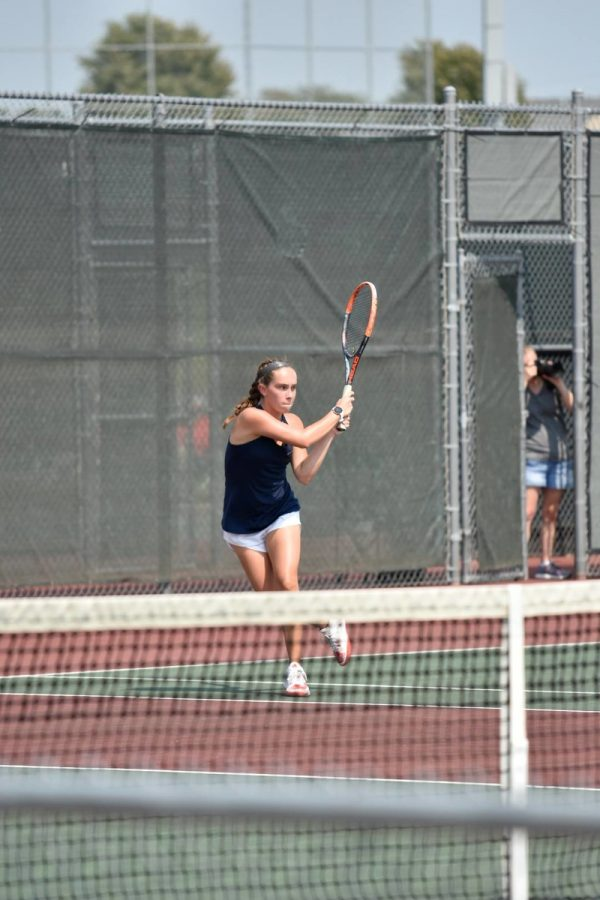 Junior+Maura+Wiens+sends+the+ball+across+the+court+at+the+Emporia+Invitational+on+Saturday.+Photo+Courtesy+of+Gerald+Wiens